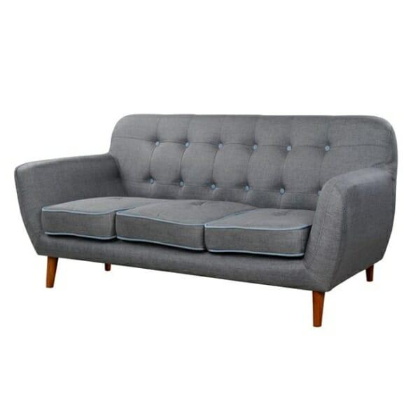 Стилен триместен диван в сив цвят серия Карин странично