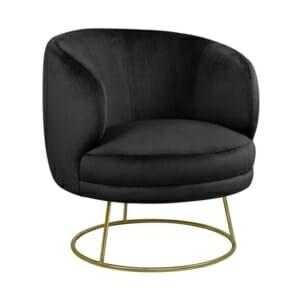 Стилен фотьойл от кадифе с кръгла метална основа в черно