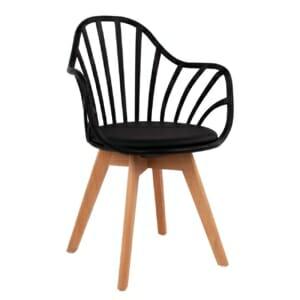 Стилен трапезен стол с подлакътници и дървени крака от бук в черно