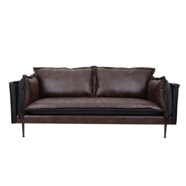 Стилен триместен диван от велур в кафяво и черно
