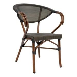 Стол с подлакътници от серия Бамбук в кафяво