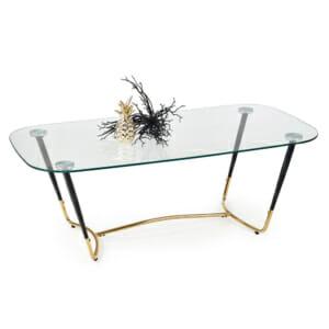 Стъклена холна маса с метална основа в златисто и черно