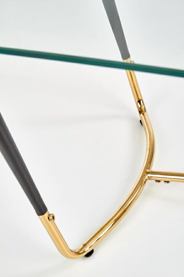 Стъклена холна маса с метална основа в златисто и черно - детайл основа