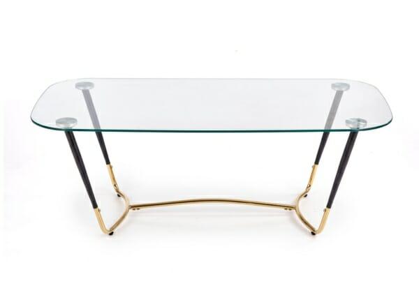 Стъклена холна маса с метална основа в златисто и черно - изглед отпред