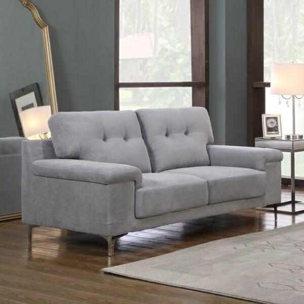Светлосив стилен двуместен диван с метални крачета Ноел