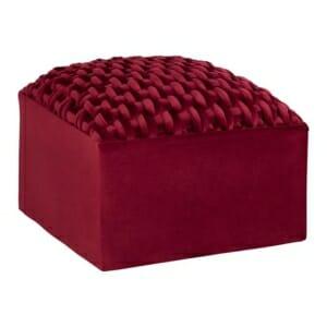 Табуретка в квадратна форма с декоративни плитки в бордо