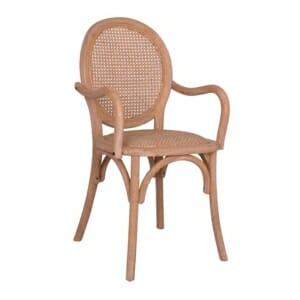 Трапезен дървен стол от бряст в натурален цвят