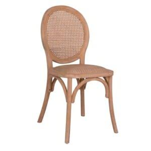 Трапезен дървен стол с плетена ратанова седалка