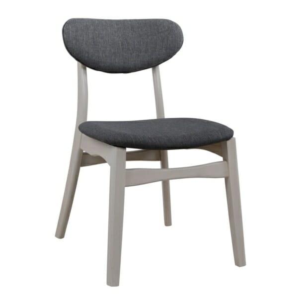 Трапезен дървен стол с тапицерия в сиво - цвят избелен дъб