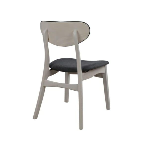 Трапезен дървен стол с тапицерия в сиво - цвят избелен дъб гръб