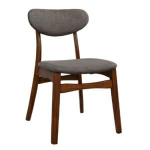Трапезен дървен стол с тапицерия в сиво - цвят орех