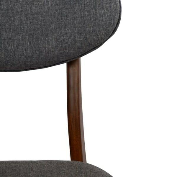 Трапезен дървен стол с тапицерия в сиво - цвят орех детайли