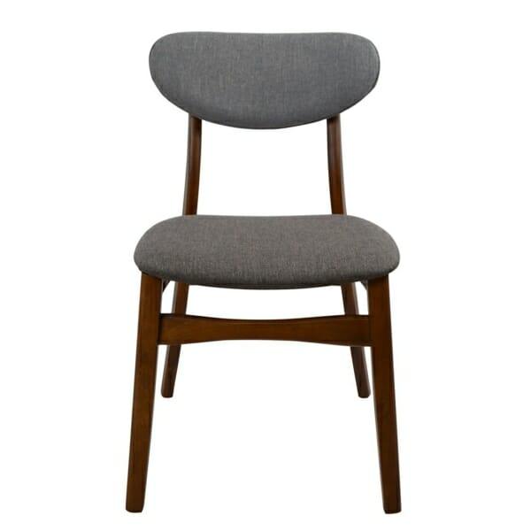 Трапезен дървен стол с тапицерия в сиво - цвят орех отпред