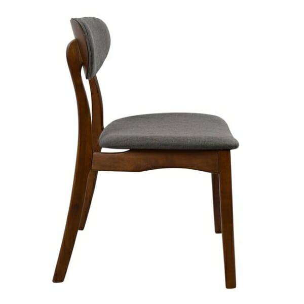 Трапезен дървен стол с тапицерия в сиво - цвят орех странично