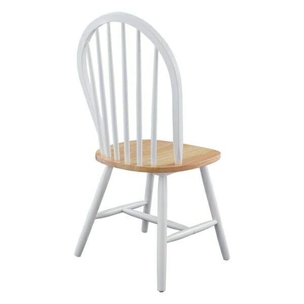 Трапезен дървен стол в бяло отзад