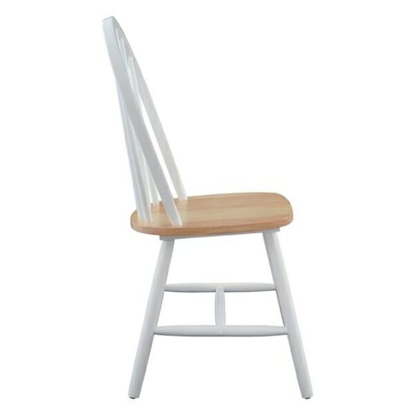 Трапезен дървен стол в бяло странично