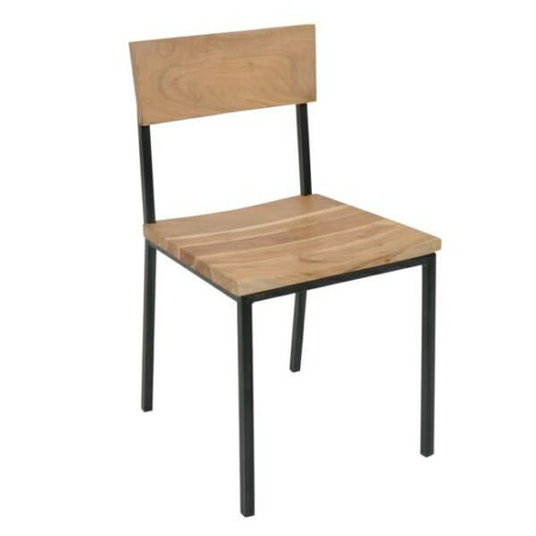 Трапезен стол от акациево дърво и метал Данте
