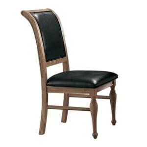 Трапезен стол от дърво и черна еко кожа серия Сиси