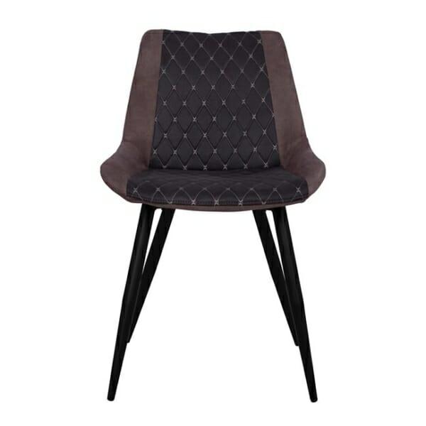 Трапезен стол от метал и набук Келани фронтално