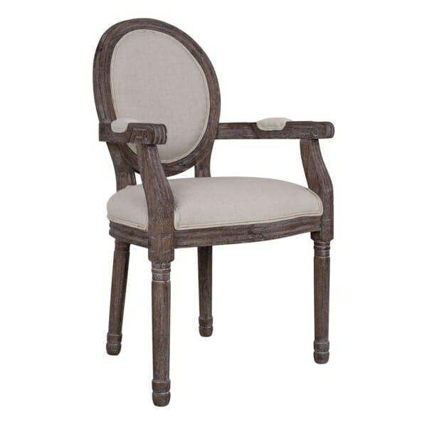 Трапезен стол от патинирана рамка с подлакътници серия Лорена