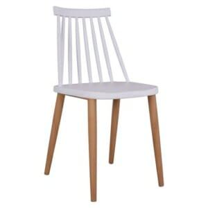 Трапезен стол с метални крака бял