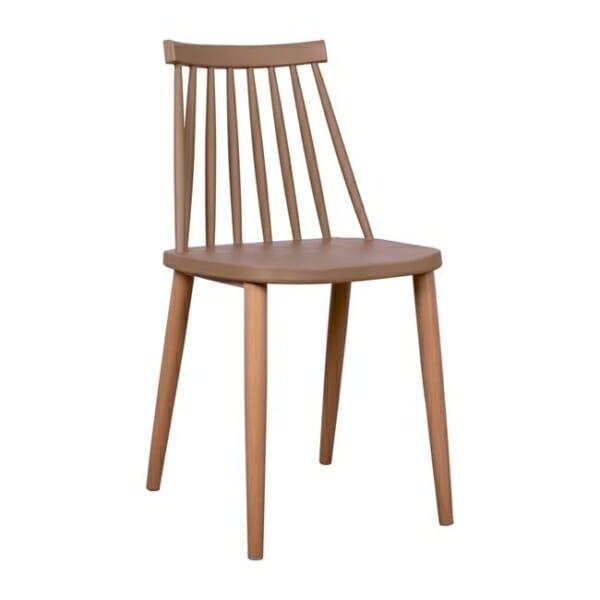 Трапезен стол с метални крака капучино