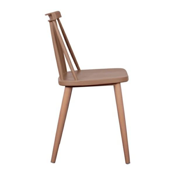 Трапезен стол с метални крака капучино страничен