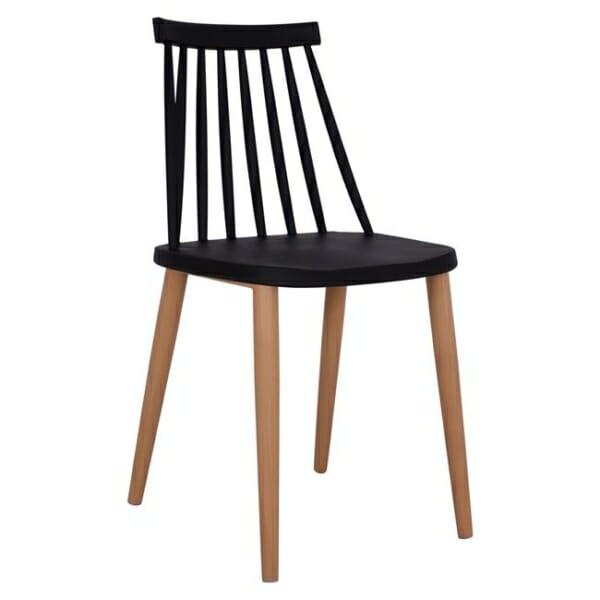 Трапезен стол с метални крака черен