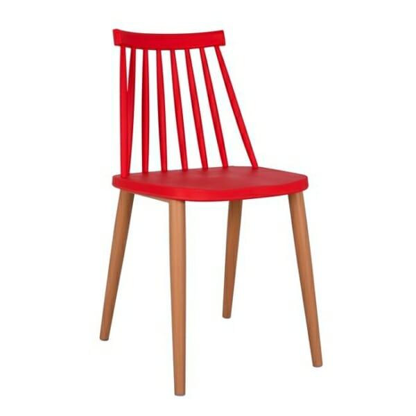 Трапезен стол с метални крака червен