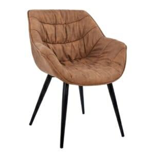 Трапезен стол с метални крака и дамаска от набук в кафяво