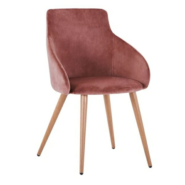 Трапезен стол с метални крака и кадифена дамаска в розово