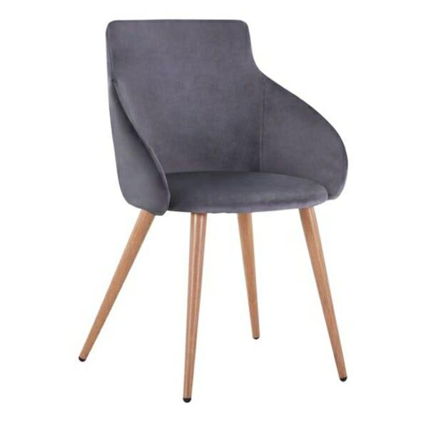 Трапезен стол с метални крака и кадифена дамаска в сиво