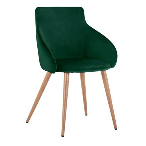 Трапезен стол с метални крака и кадифена дамаска в зелено