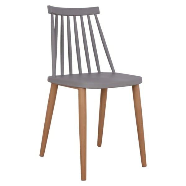 Трапезен стол с метални крака сив