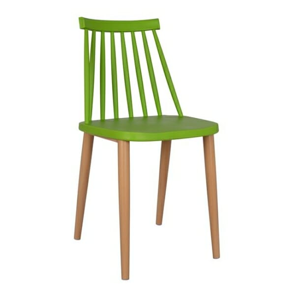 Трапезен стол с метални крака зелен