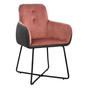 Трапезен стол с подлакътници в кадифена тапицерия и еко кожа в розово