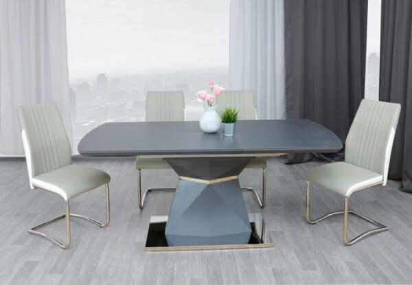 Трапезна маса с модерен дизайн в сиво и чрно Дрейк