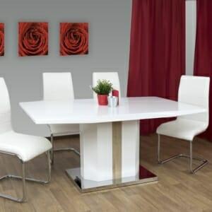 Трапезна маса в комбинация бяло и дъб сонома Трело