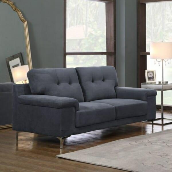Тъмносив стилен двуместен диван с метални крачета Ноел