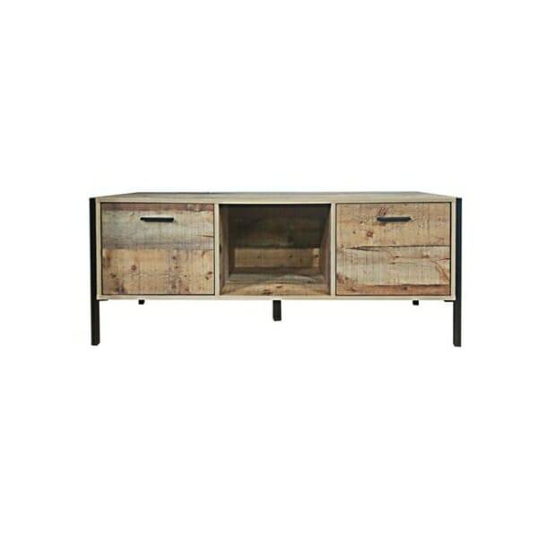 ТВ шкаф с рафт и 2 вратички в индустриален стил Пако