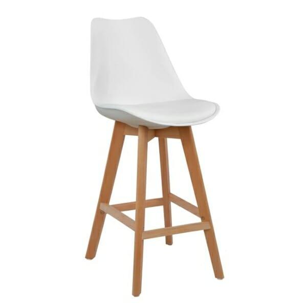 Висок бар стол с букови крака и мека възглавница бял