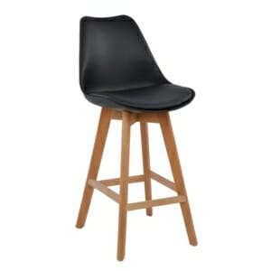 Висок бар стол с букови крака и мека възглавница черно