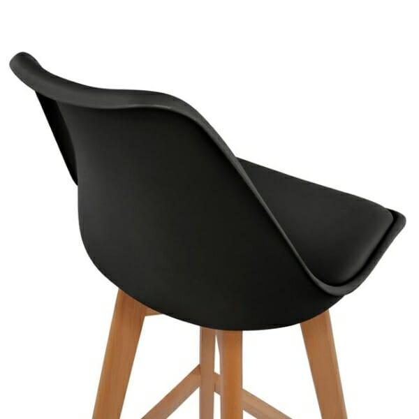 Висок бар стол с букови крака и мека възглавница черно детайли