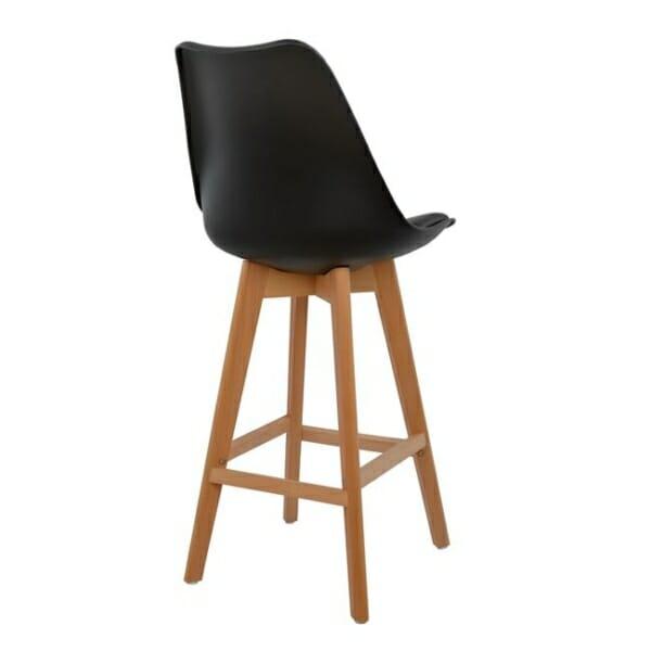 Висок бар стол с букови крака и мека възглавница черно гръб