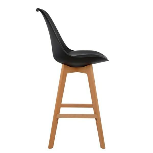 Висок бар стол с букови крака и мека възглавница черно странично