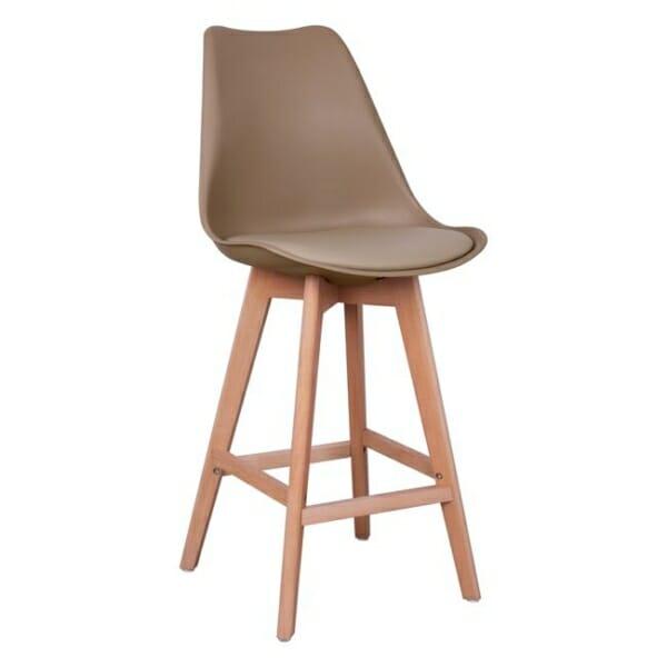 Висок бар стол с букови крака и мека възглавница капучино