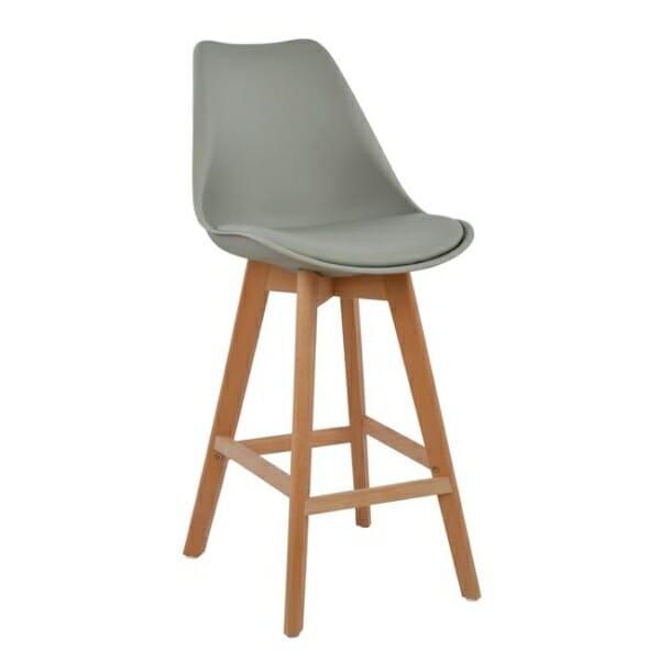 Висок бар стол с букови крака и мека възглавница сив