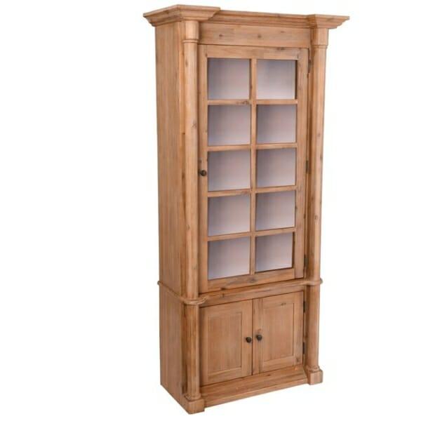 Висок шкаф витрина от акациево дърво серия Сиси - десни панти