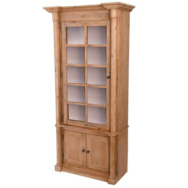 Висок шкаф витрина от акациево дърво серия Сиси - леви панти