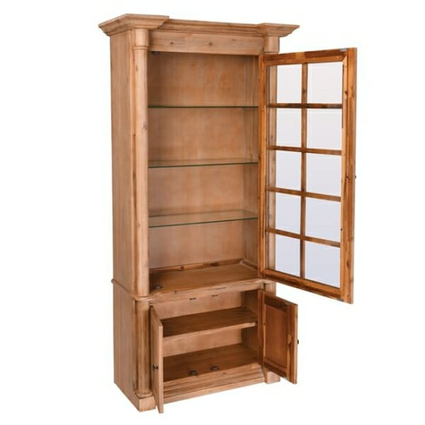 Висок шкаф витрина от акациево дърво серия Сиси - разпределение